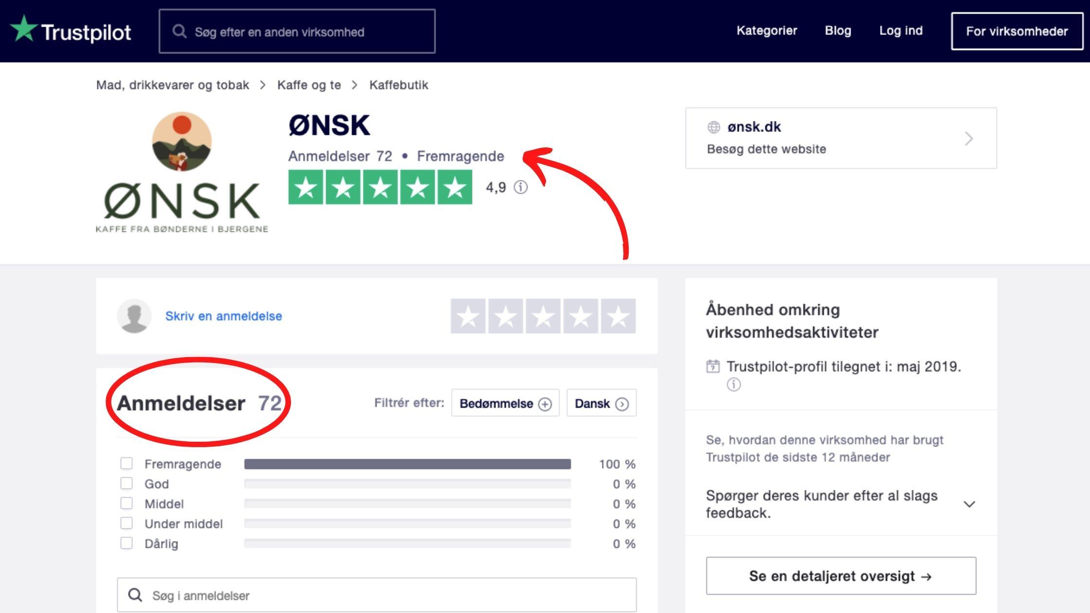 ØNSK Trustpilot